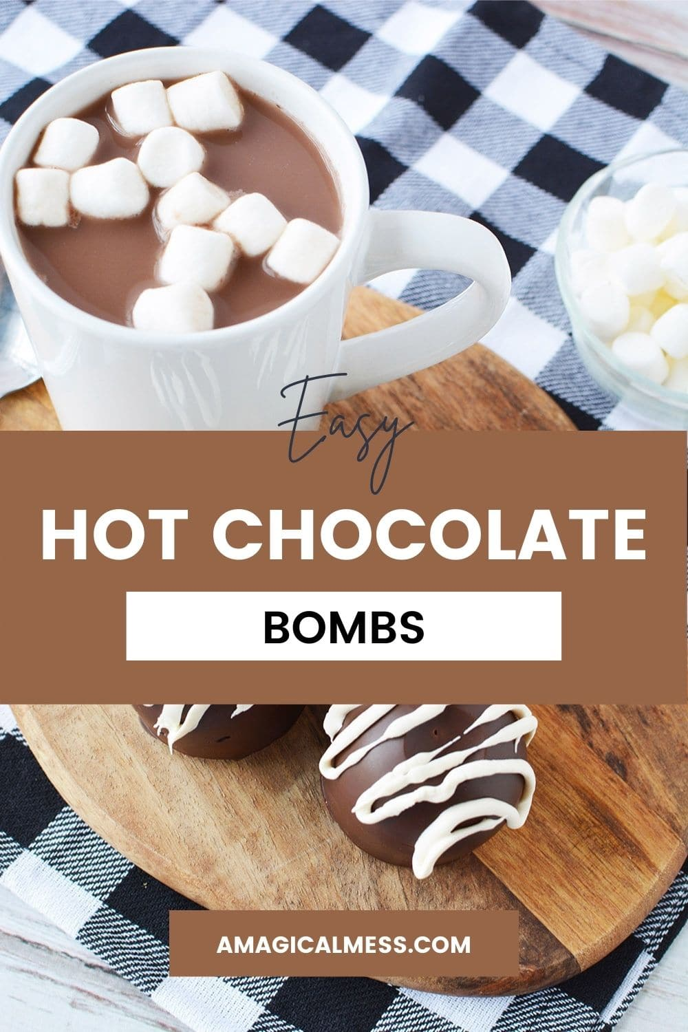 Mug full of hot cocoa next to hot chocolate bombs on a board.