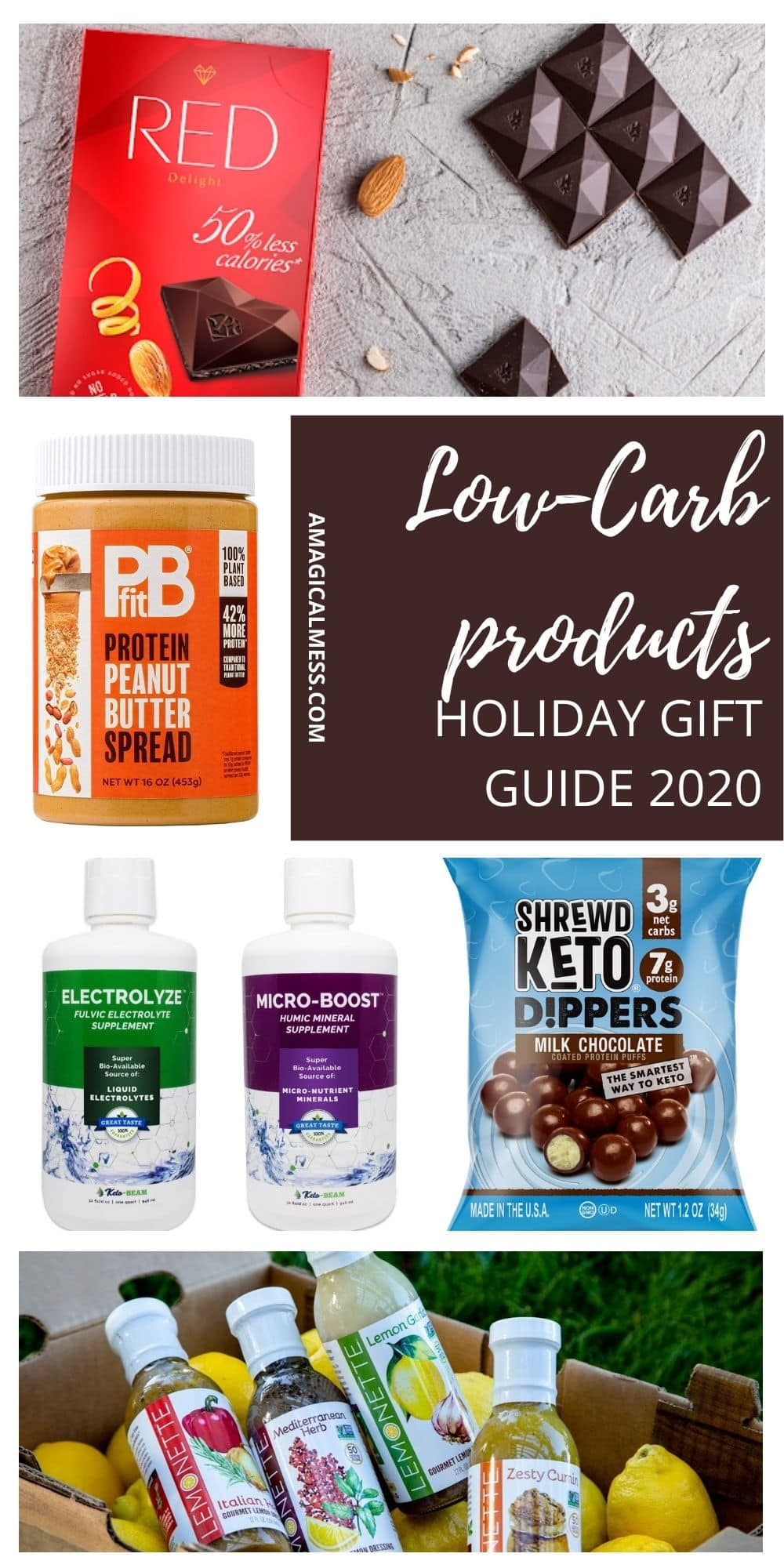 low-carb items in a collage for keto gift guide