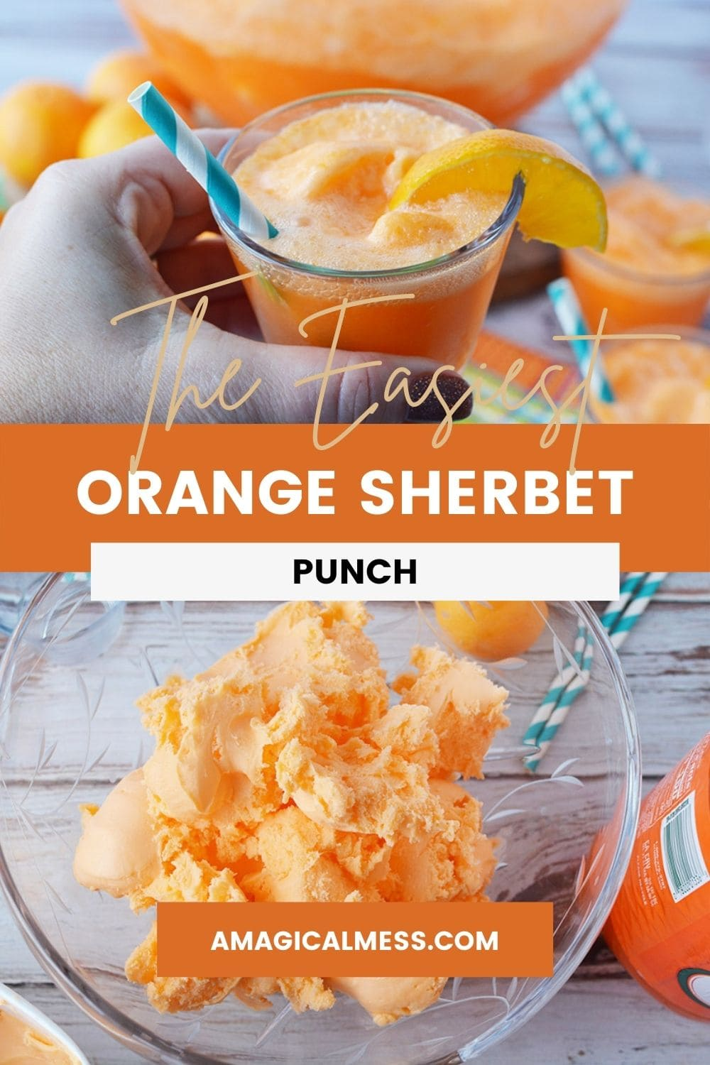 Holding a glass of orange punch and bowl full of orange sherbet.