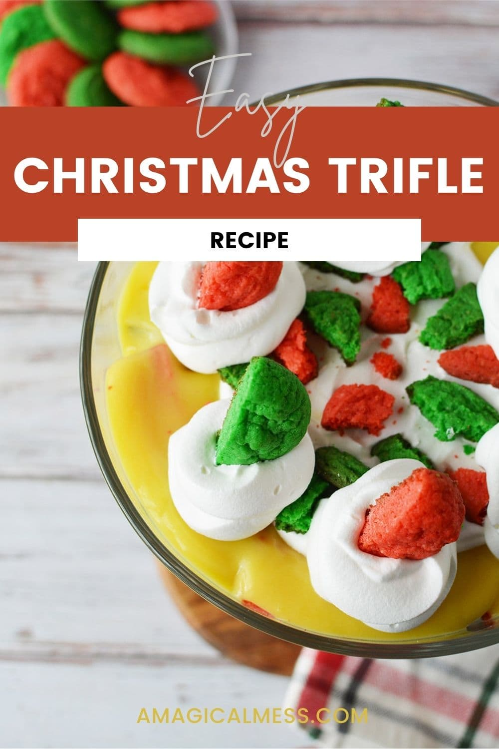 Christmas trifle with red and green cookies on top.