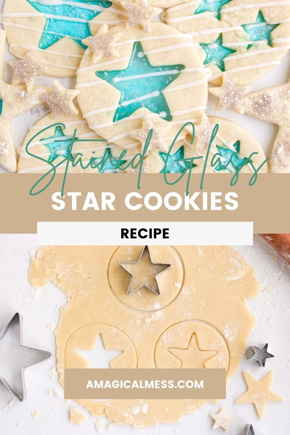 Cookie dough and baked stained-glass cookies with stars