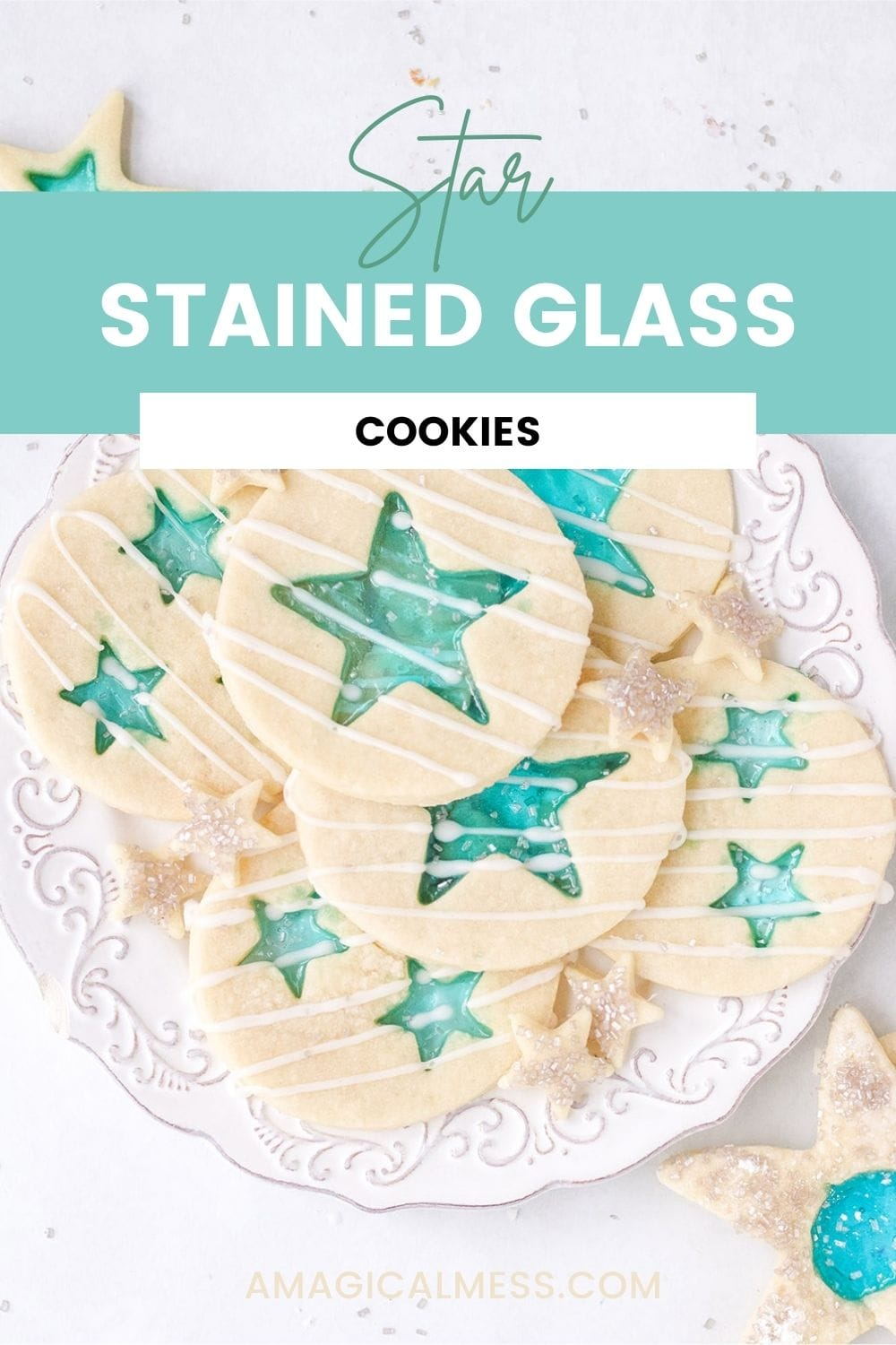 Blue Jolly Rancher cookies with stars