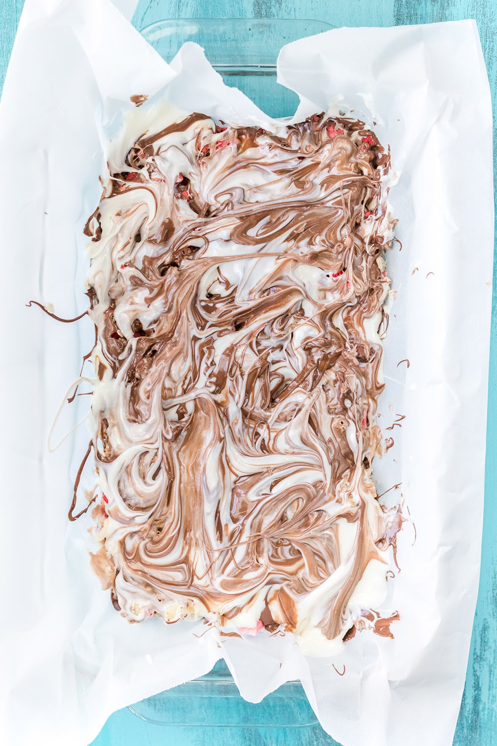 White and milk chocolate swirled together.