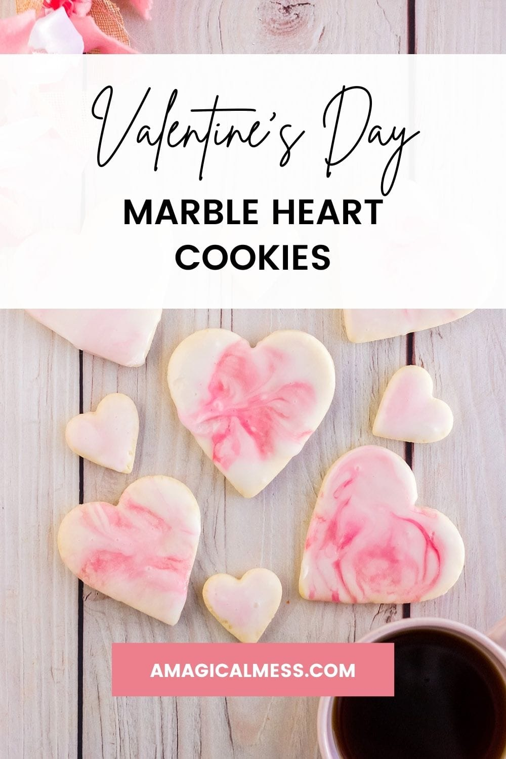 Heart cookies with pink marble icing.