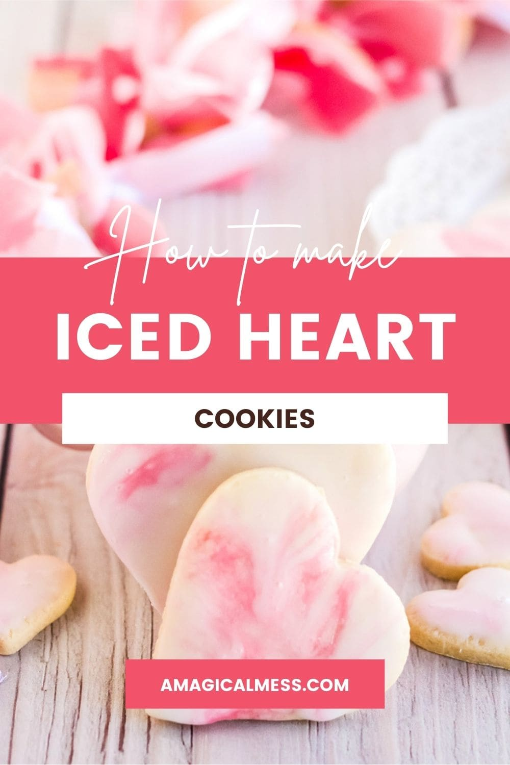 Heart cookies with icing on a table with pink flower petals.