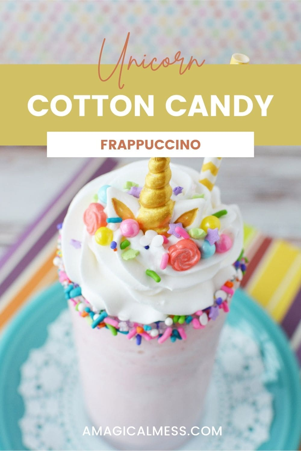 Cotton candy frappuccino topped with unicorn horn and sprinkles.