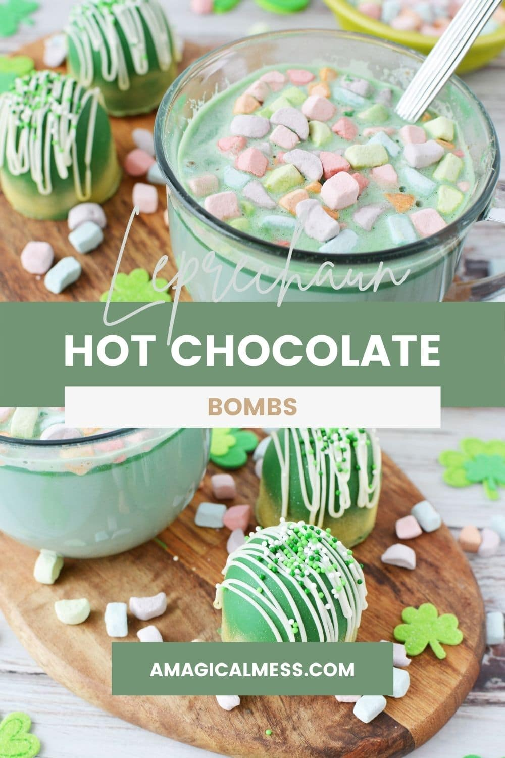 Green hot chocolate with marshmallows and green hot chocolate bombs on a board.