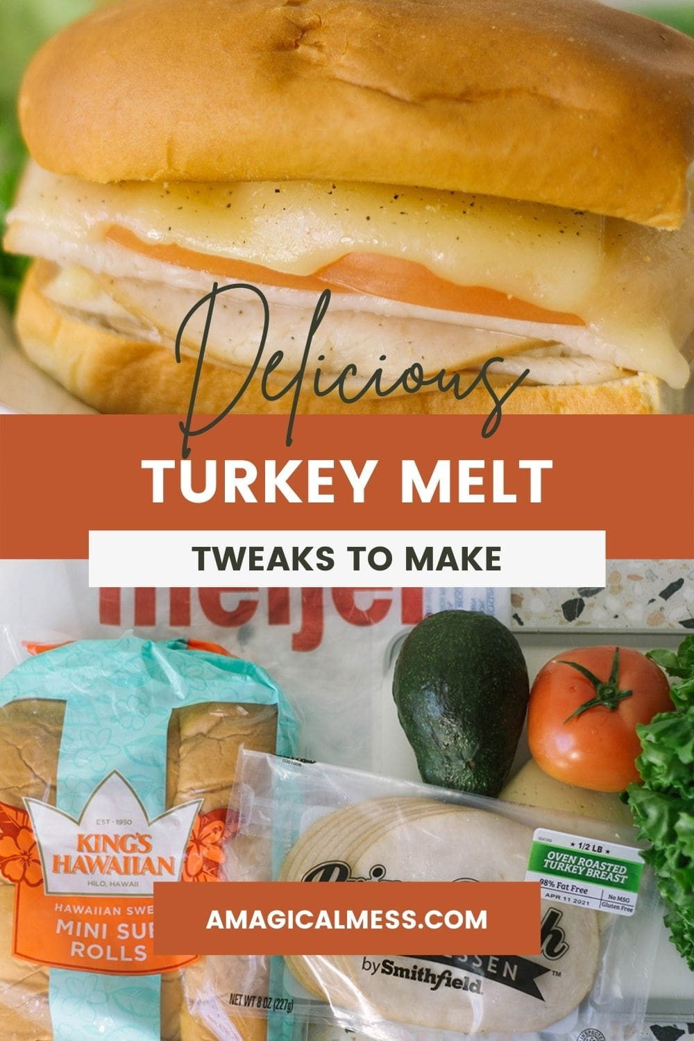 Turkey sub melt on a plate with ingredients lined up on a table.