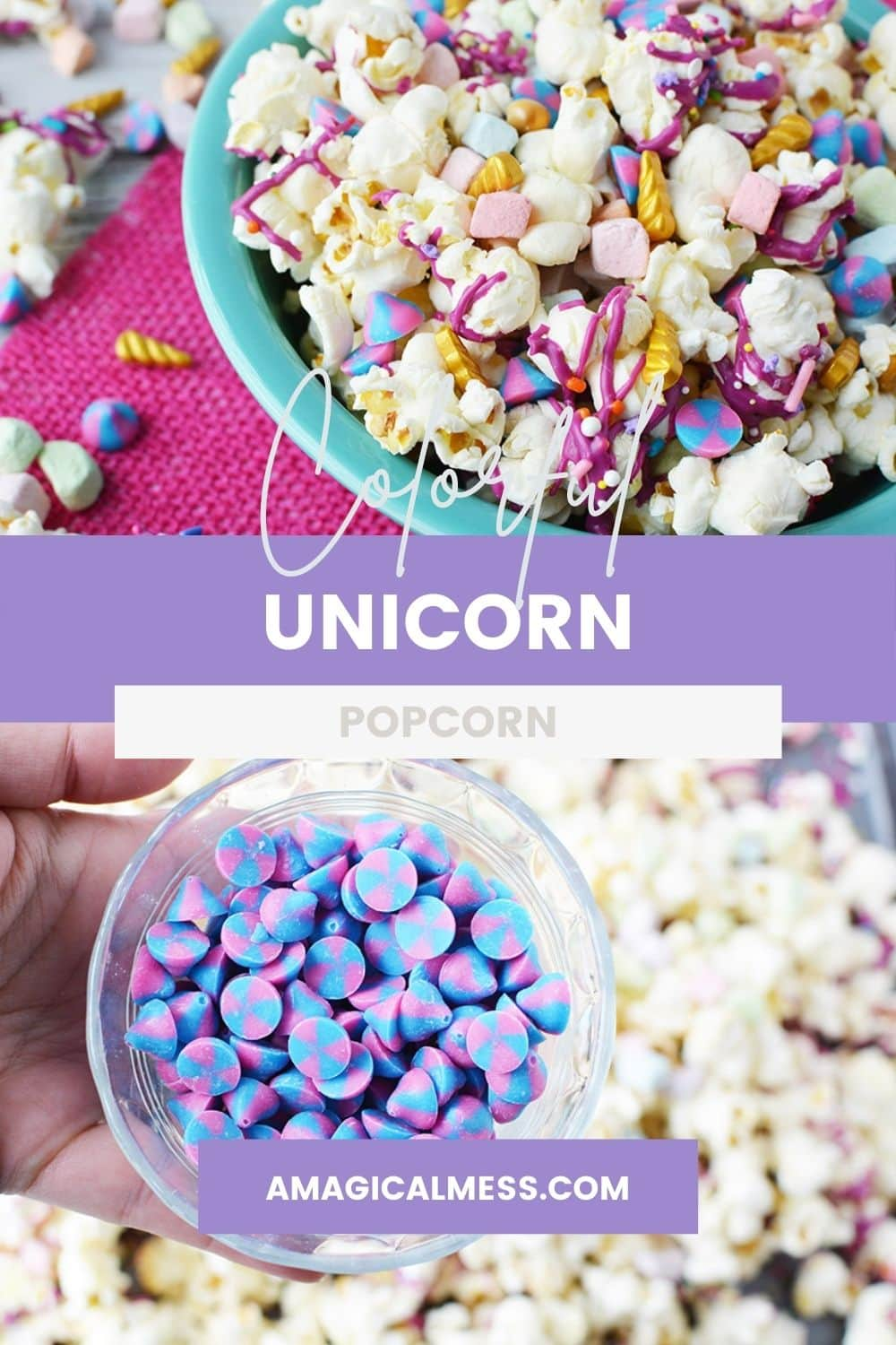 Bowl of unicorn popcorn and a cup of unicorn chips.
