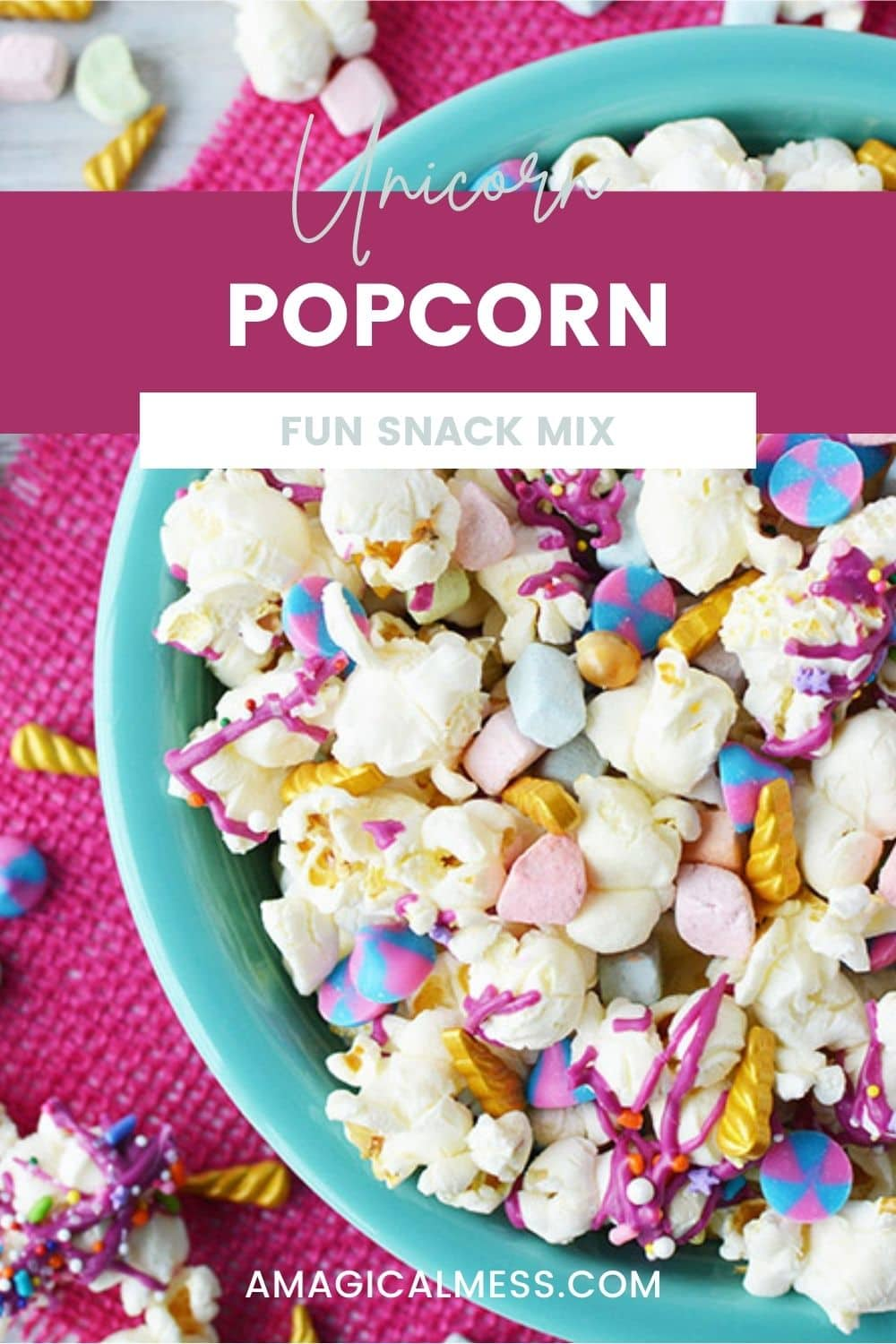 Blue bowl full of unicorn popcorn with candies.