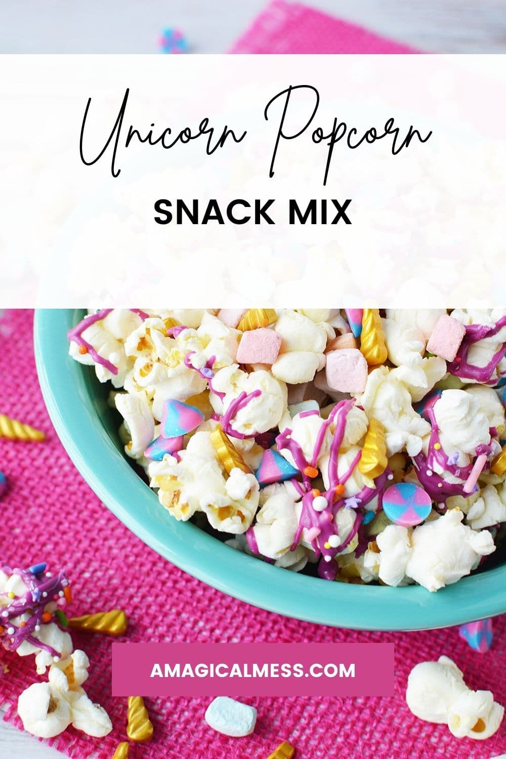 Bowl full of unicorn popcorn with colorful candy and gold horns.