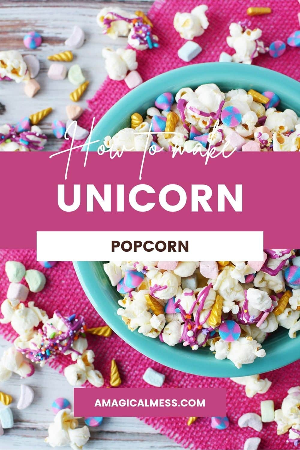 Blue bowl with popcorn and candies with a pink background and more candy on the table.