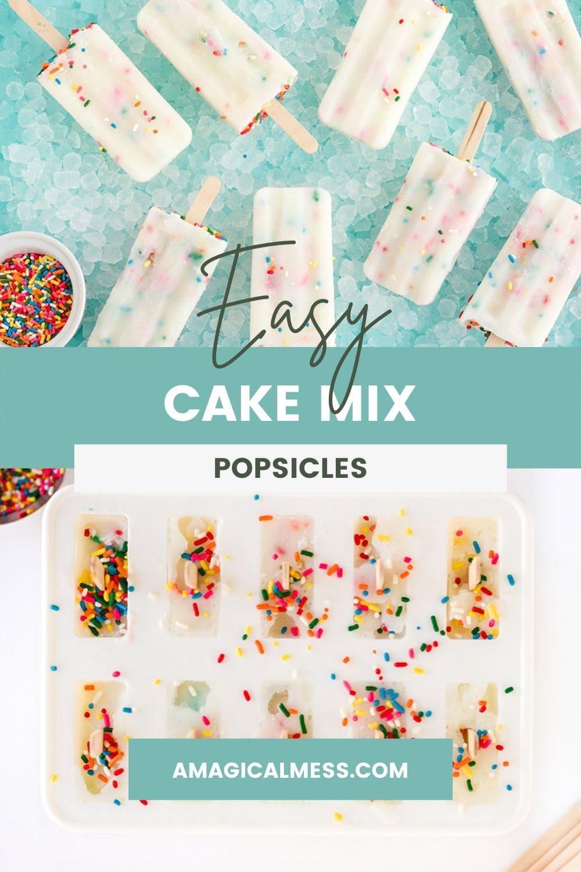 Frozen cake mix pops on ice.