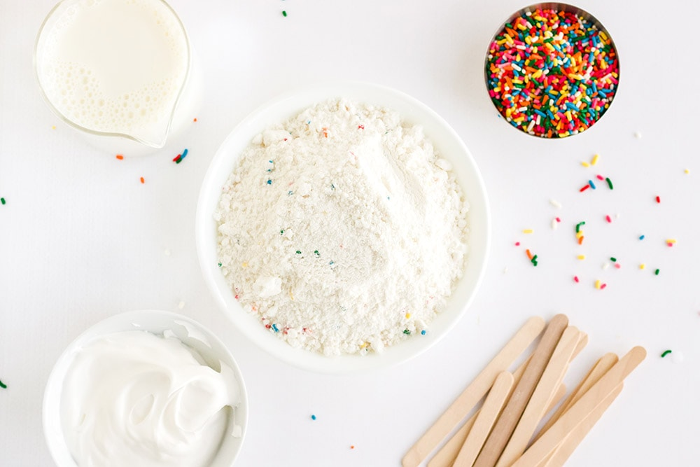 Ingredients for cake mix pops.