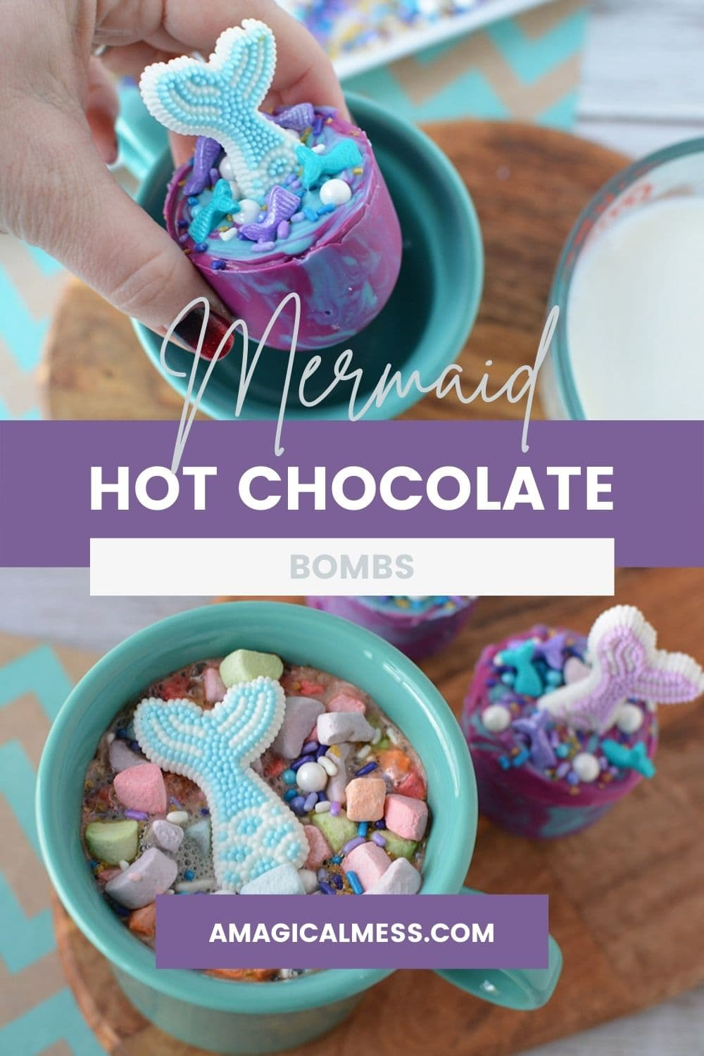 Mermaid hot chocolate. Dropping melt into a mug and finished product.