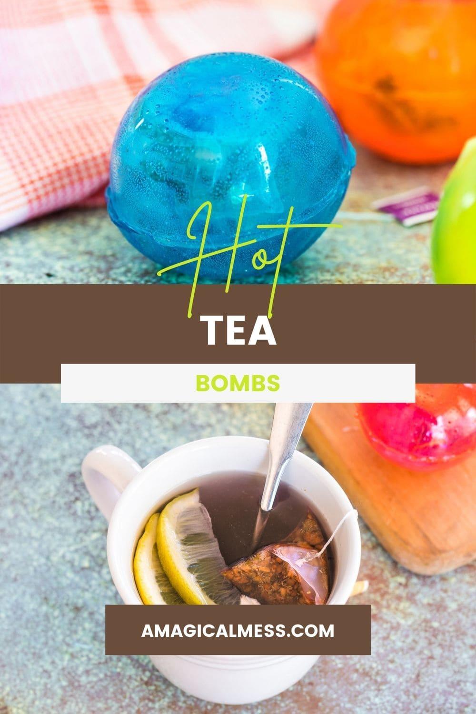 Blue ball tea drop and a mug filled with hot tea.