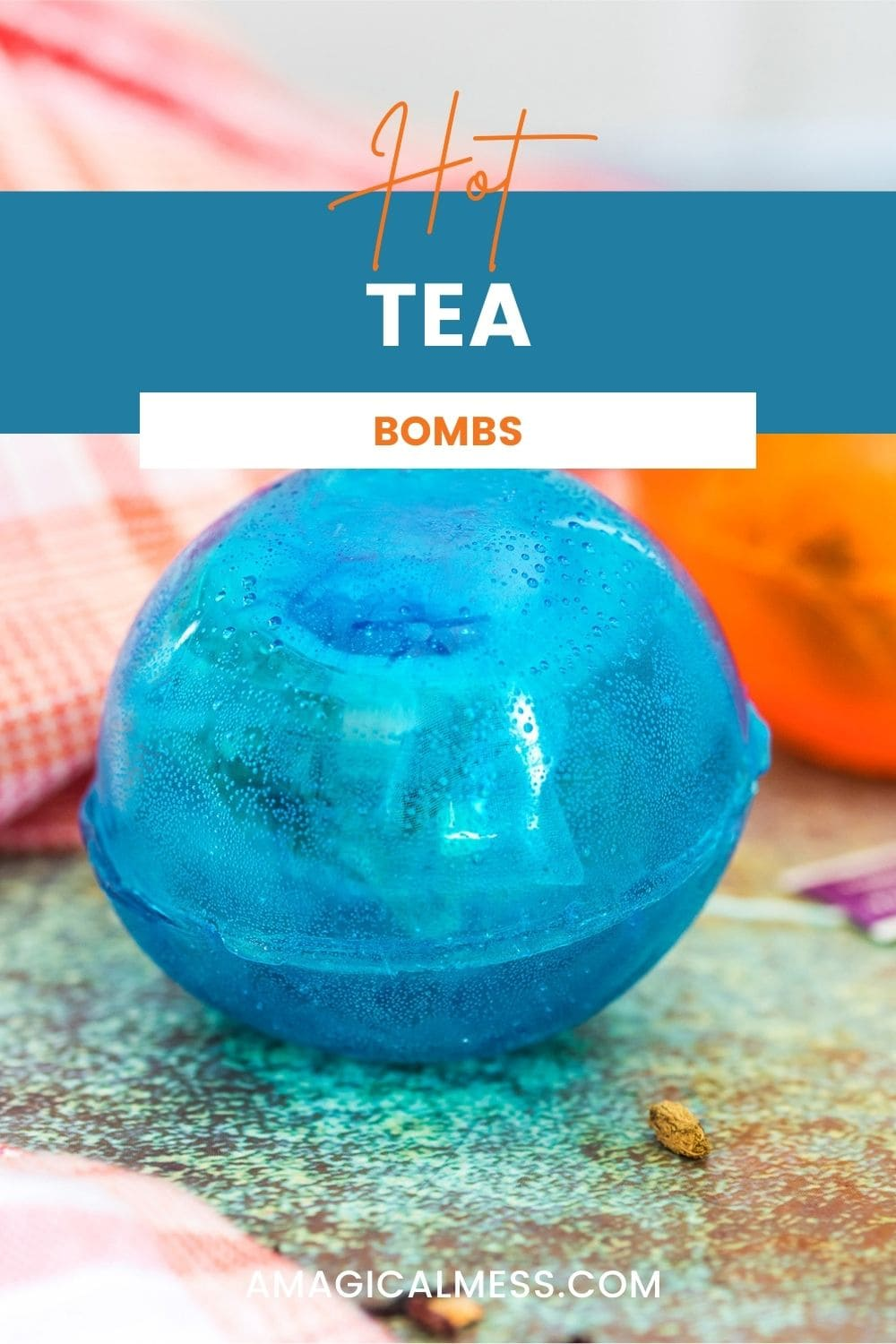 Blue orb filled with tea for a hot tea drop.