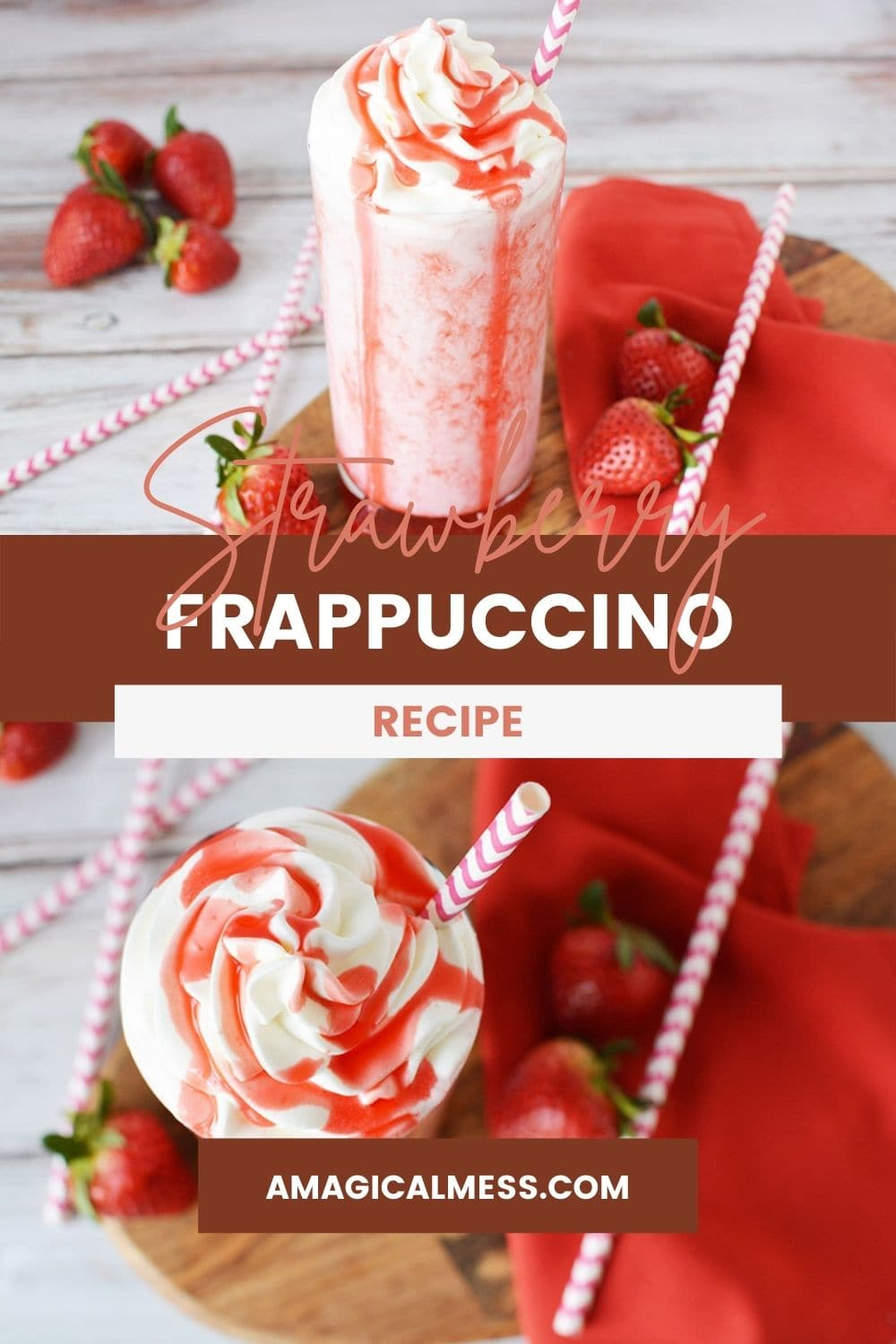 Strawberry blended drink in a glass topped with whipped cream and red syrup.