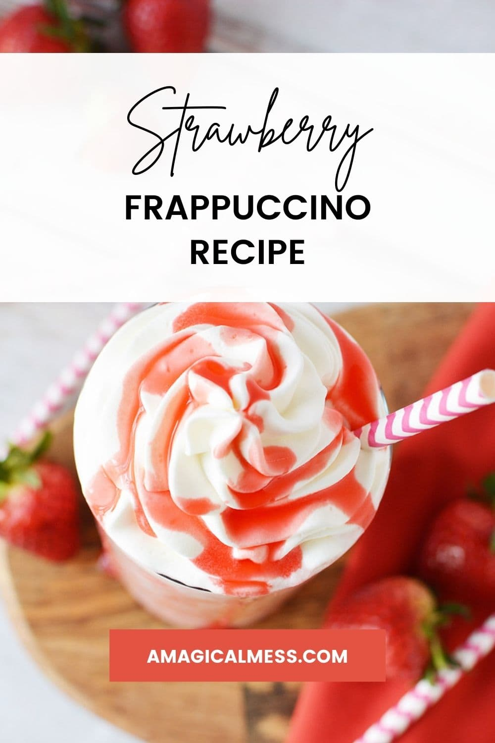 Strawberry syrup on top of whipped cream with a straw and strawberries on the table.