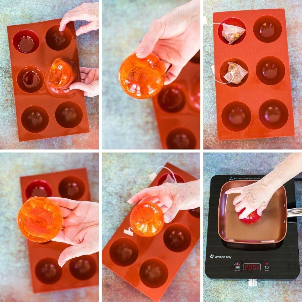 Process images of making hot tea drops.