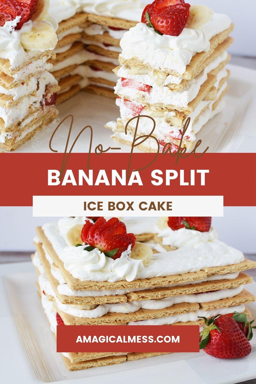Banana split ice box cake on a plate.