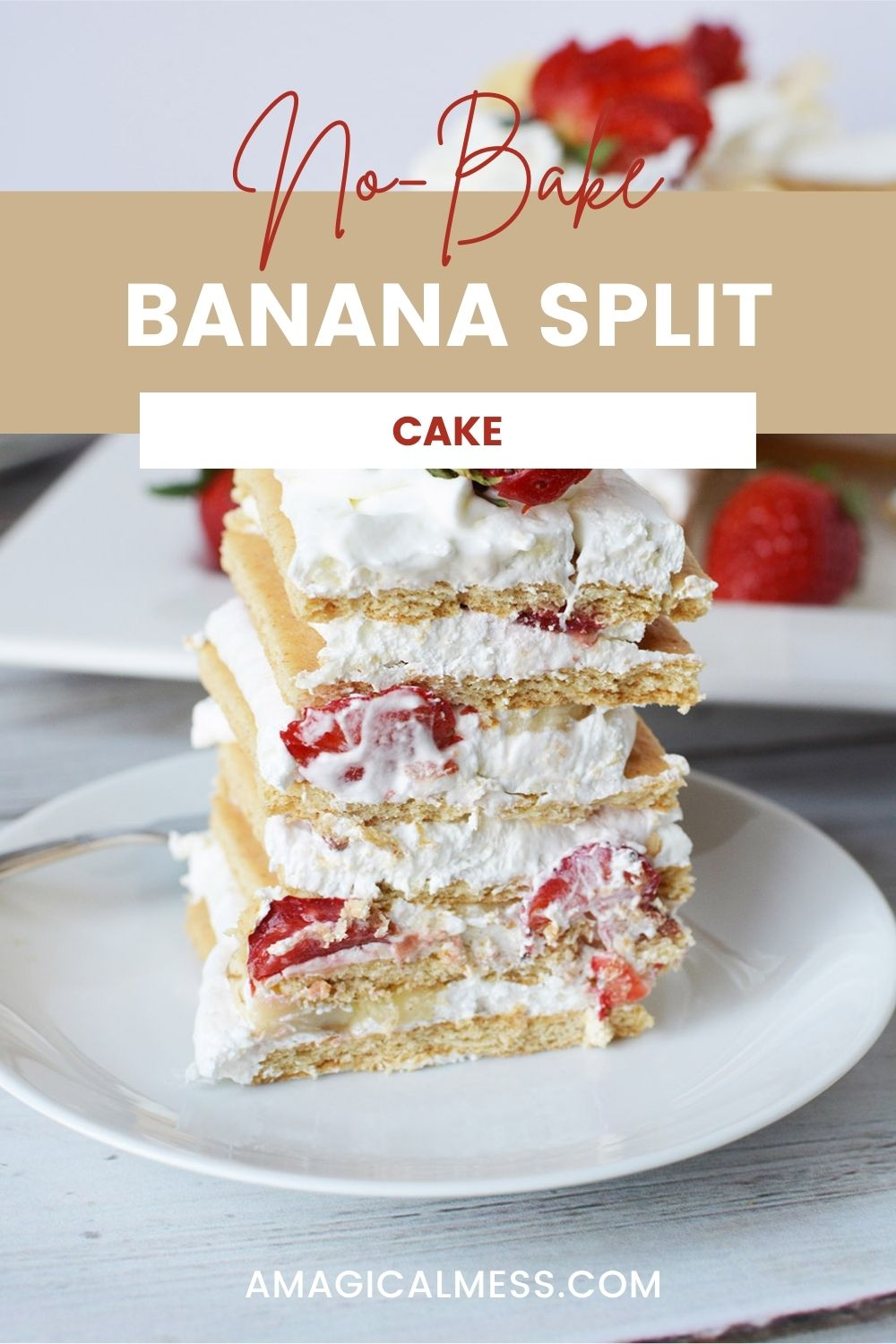Stacked strawberry and banana ice box cake on a plate.
