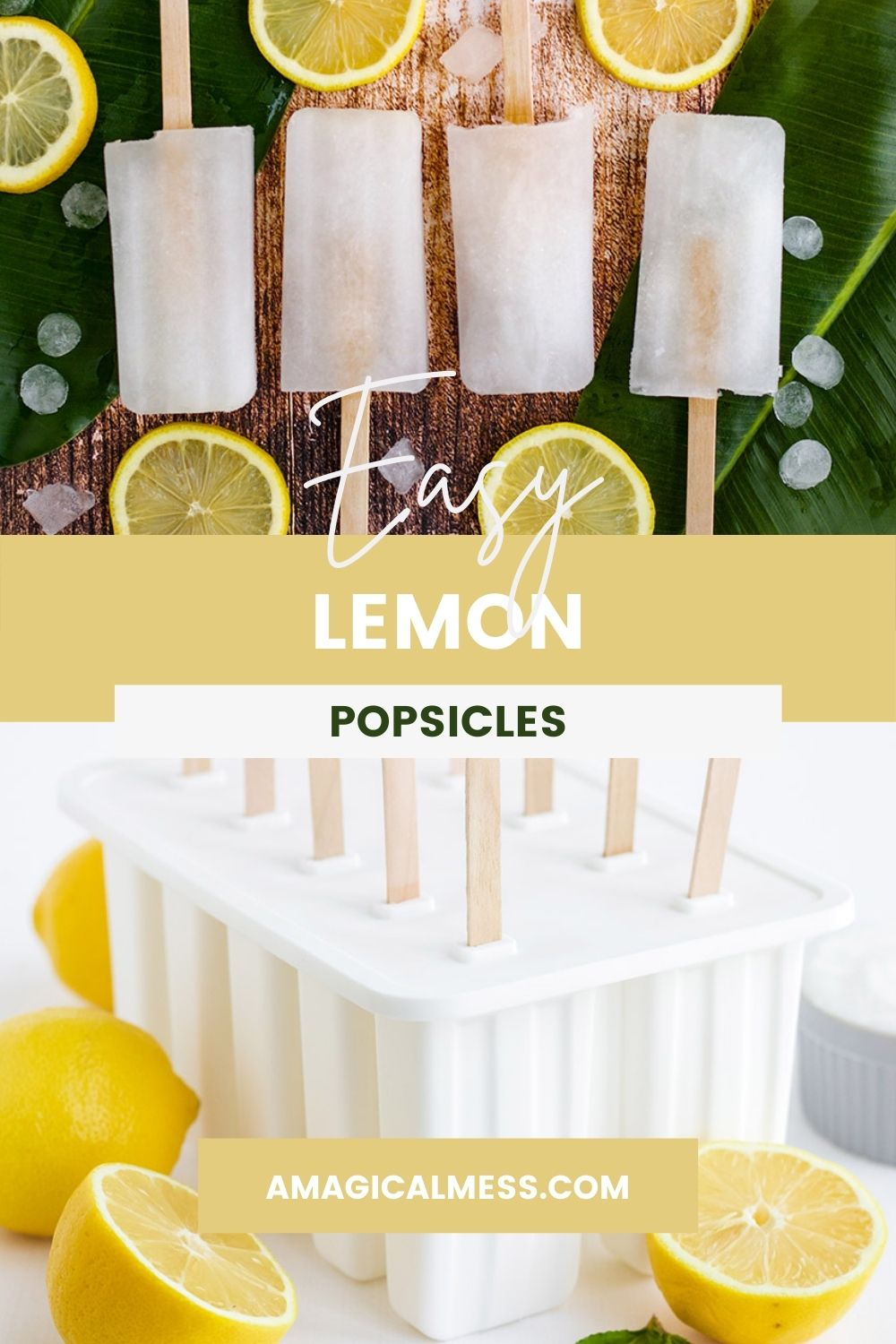 Lemon popsicles in a row and in the popsicle mold.