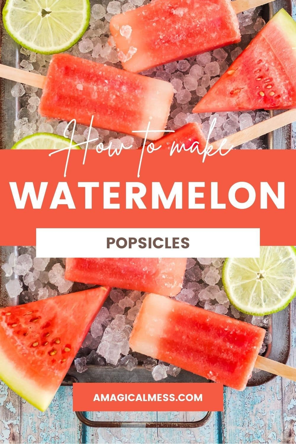 Watermelon frozen pops on a tray with ice, watermelon, and limes.