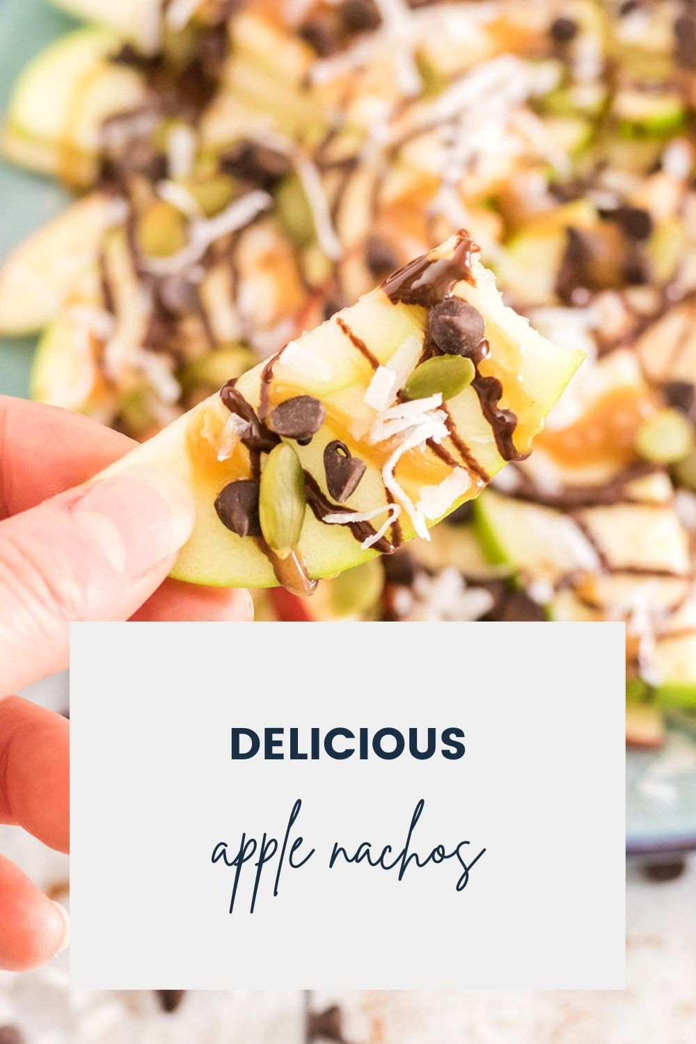 Slices of apples with drizzles of caramel and chocolate sauce and other toppings.