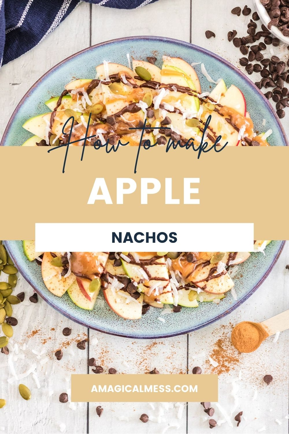 A plate full of apple slices covered in toppings.