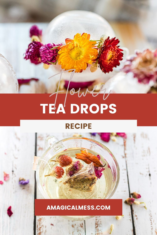 Floral tea globes and a mug full of tea.