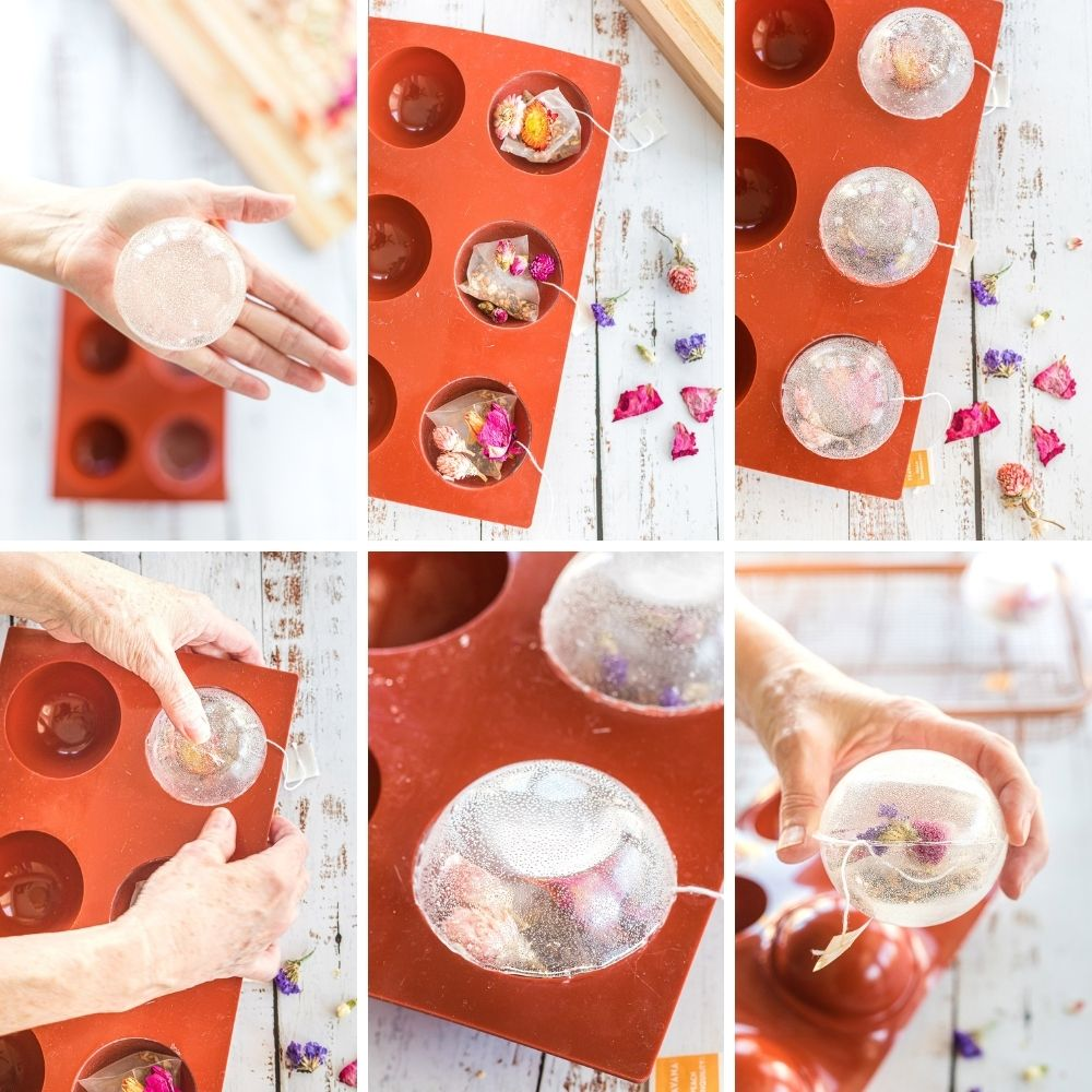 Collage of steps to make floral tea drops.