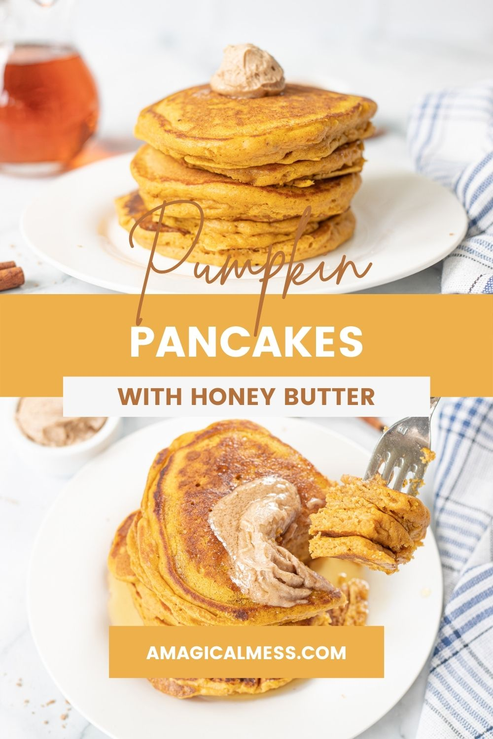 Stack of pumpkin pancakes and a fork full of pancakes.
