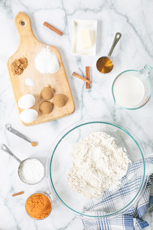 Overhead image of ingredients needed for pumpkin pancakes.