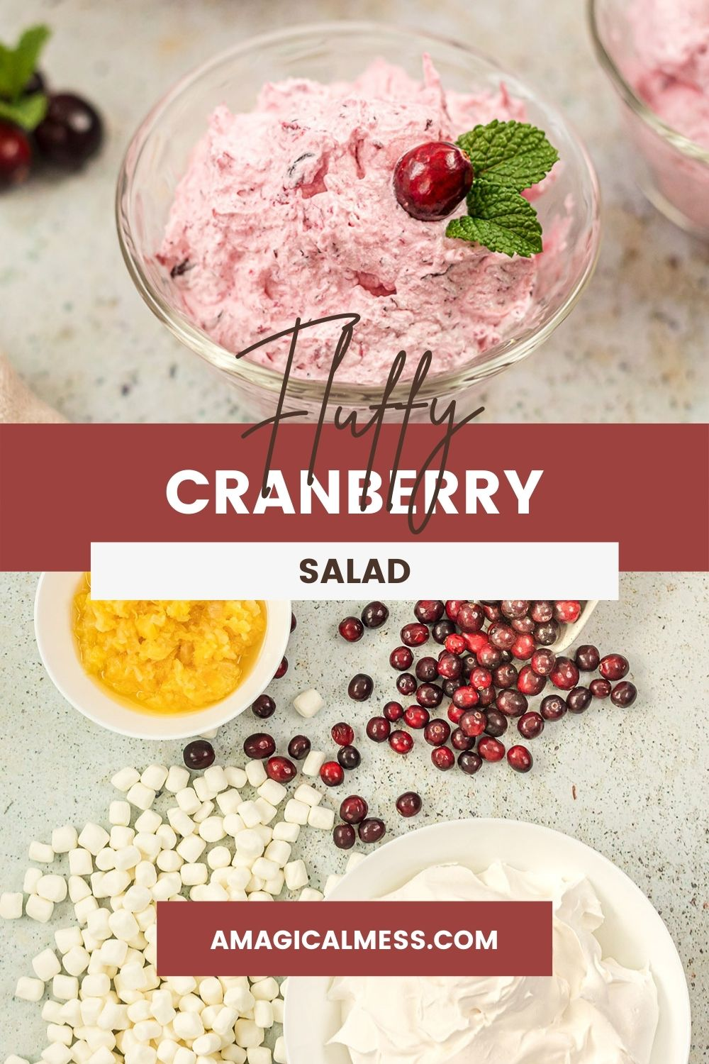 Ingredients to make cranberry salad and a bowl full of it topped with a cranberry.