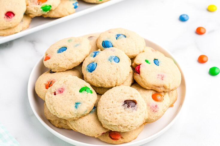 Plate of M&M cookies.