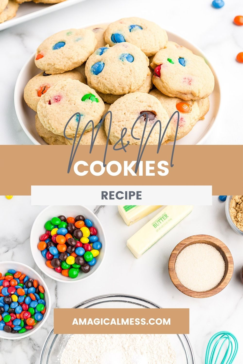 Plate of M&M cookies and ingredients to make them on a table.