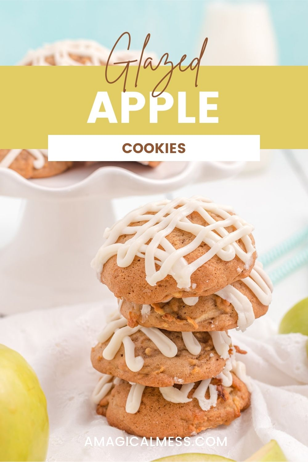 A stack of apple cookies with a glaze topping on a table with more cookies in the background.
