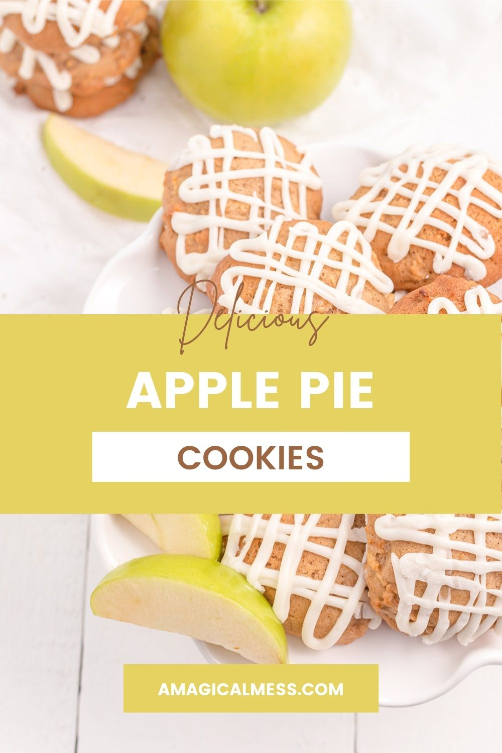 Apple pie cookies with glaze next to green apple slices.
