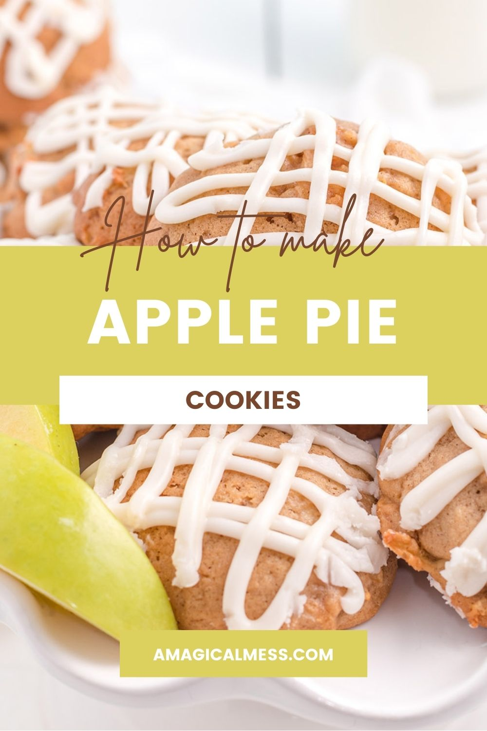 Apple cookies with glaze on a plate next to green apple slices.