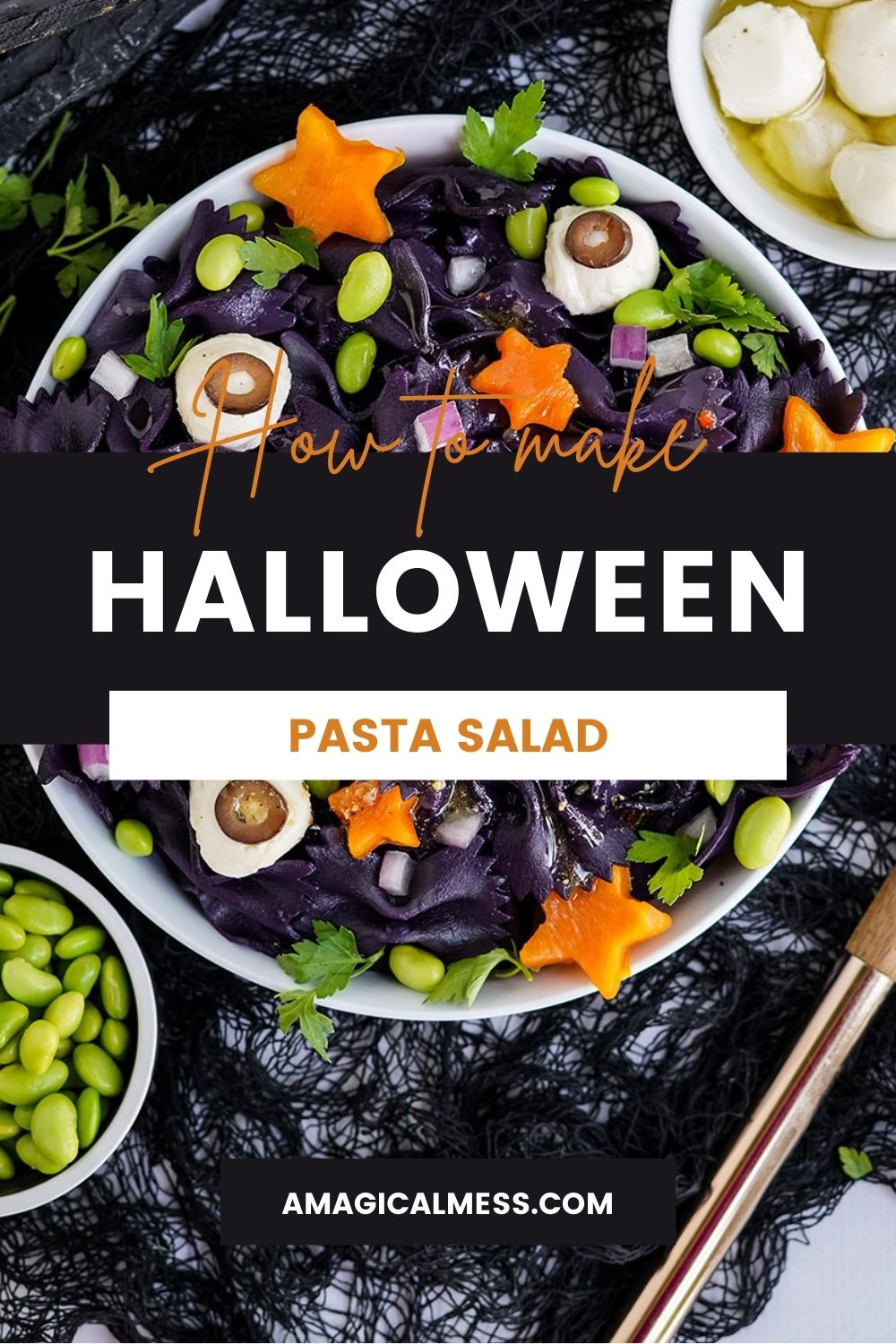 Bowl of pasta salad that looks spooky for Halloween.