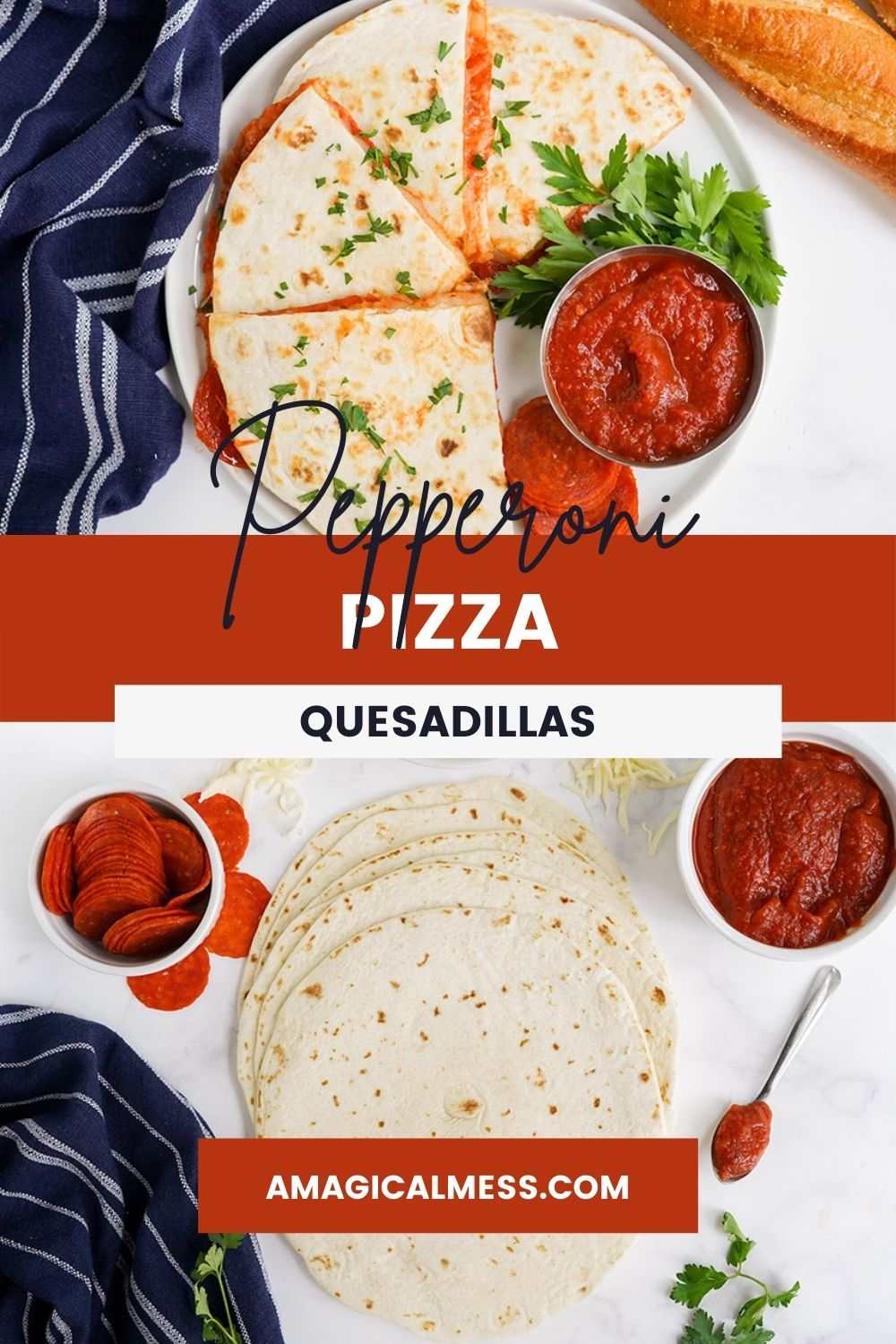 Pizza quesadillas with sauce, tortillas, pepperoni, and garnish on a table.