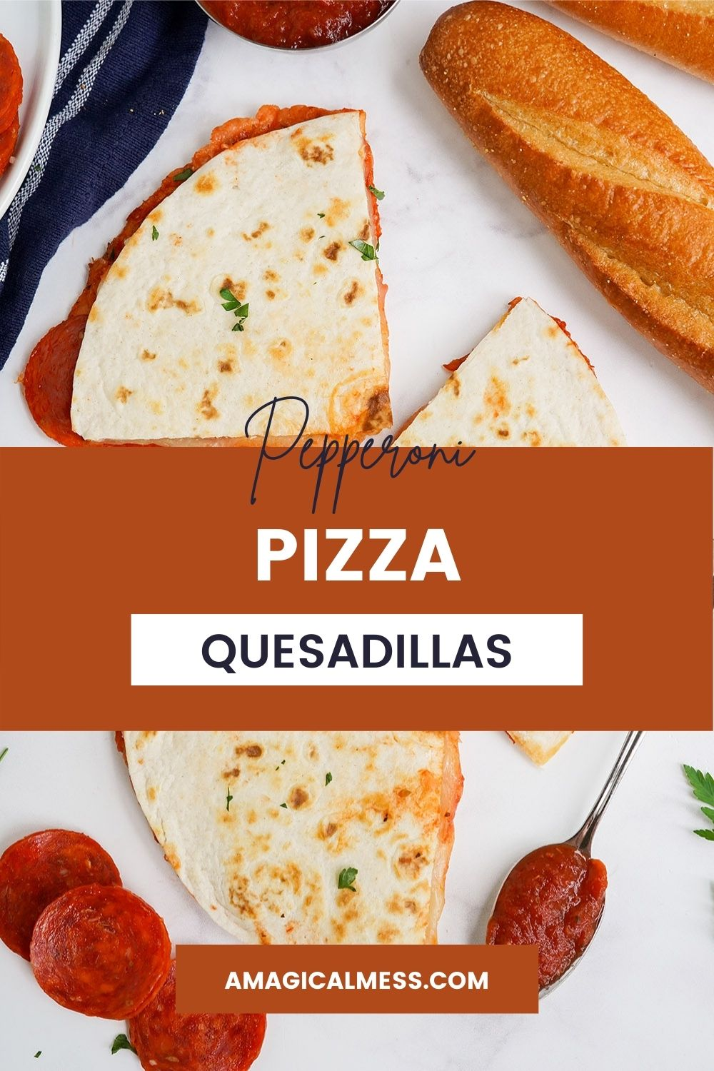 Overhead image of pizza quesadillas with bread, sauce, and pepperoni on the table.