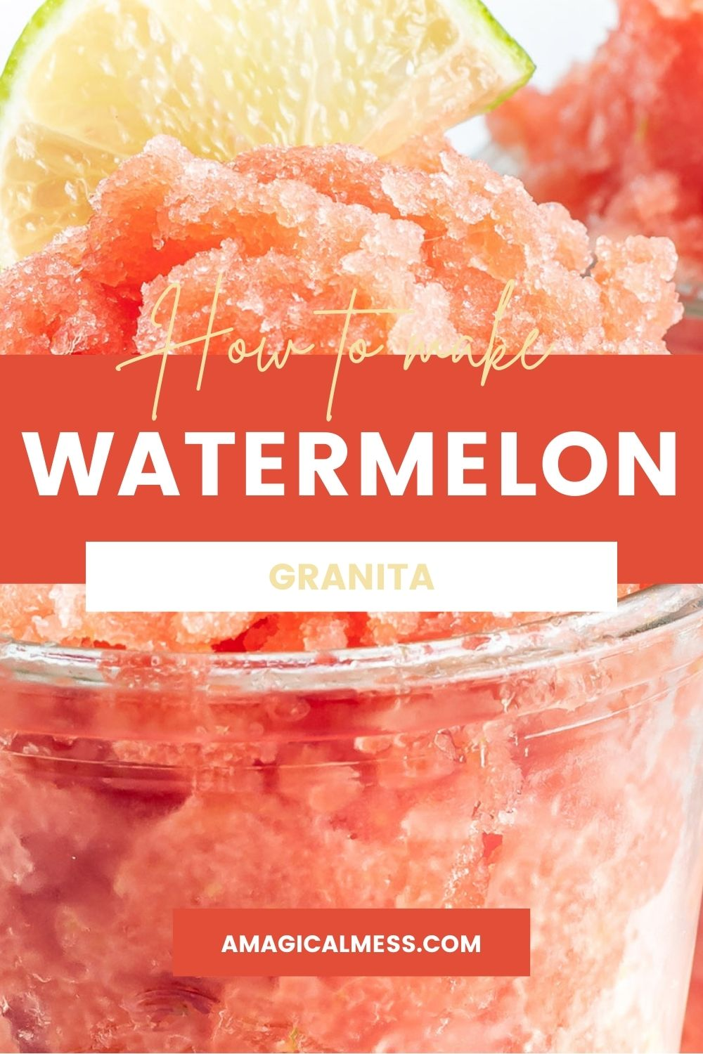Closeup of watermelon granita topped with a lime in a cup.
