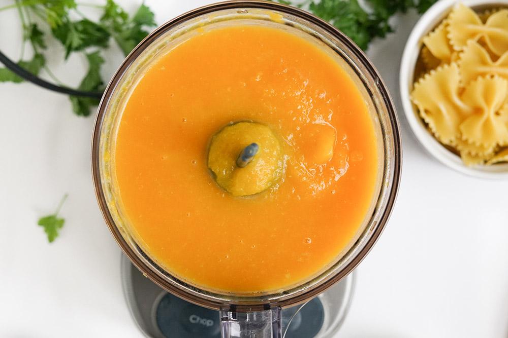 Pureed veggies in a food processor