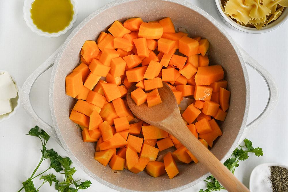 Butternut squash in a pan