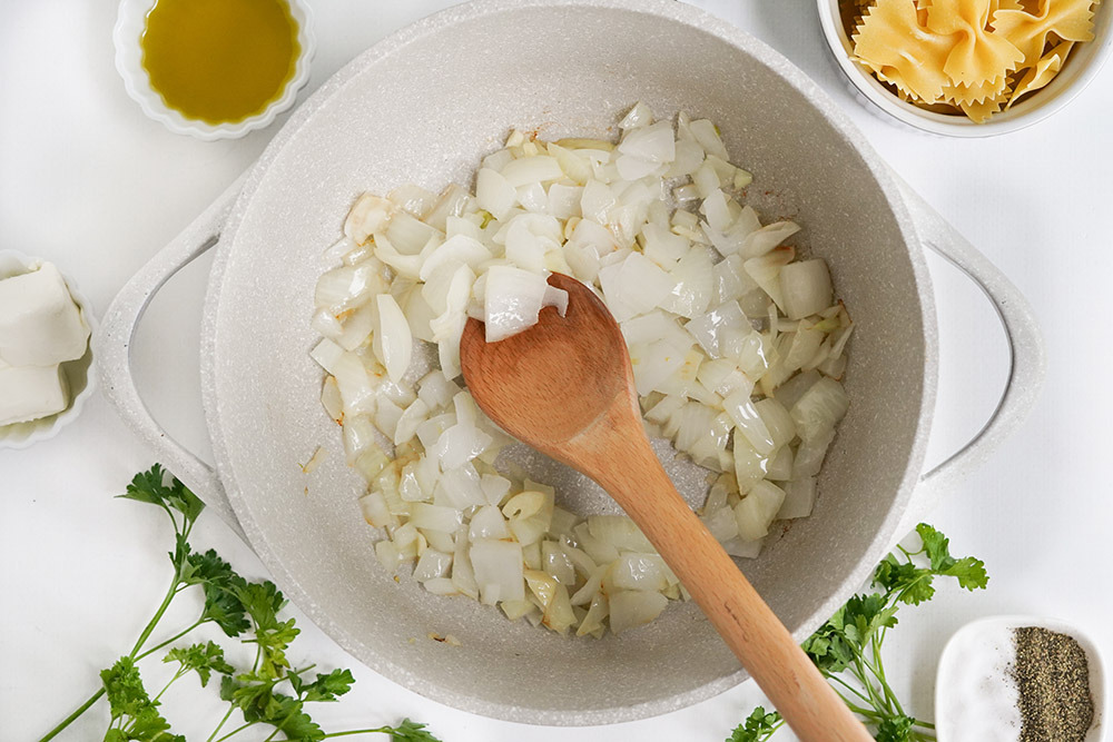 Sauteing onions in a pan