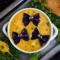 Soup with pasta bats in it for Halloween.