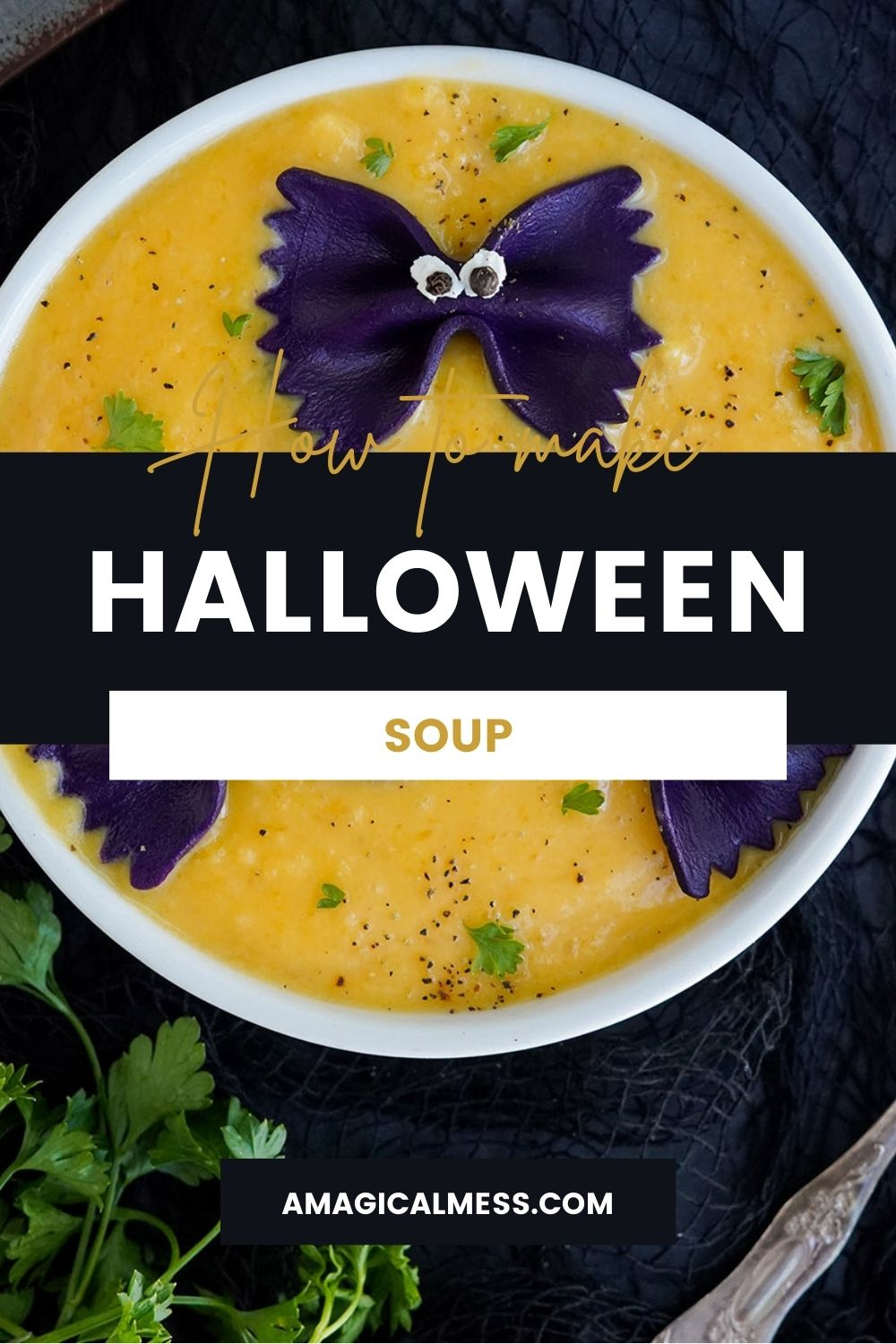 Bowl of soup with black pasta to look like bats.