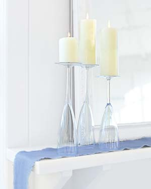 champagne flutes repurposed home decor